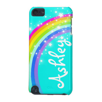 """Your name"" (6 letter) rainbow aqua ipod case"
