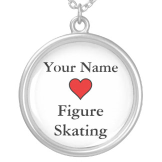 (Your Name) Hearts Figure Skating Round Pendant Necklace