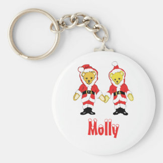 Your Name Here! Custom Letter M Teddy Bear Santas Basic Round Button Key Ring