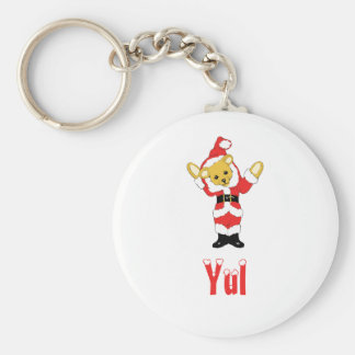 Your Name Here! Custom Letter Y Teddy Bear Santas Basic Round Button Key Ring
