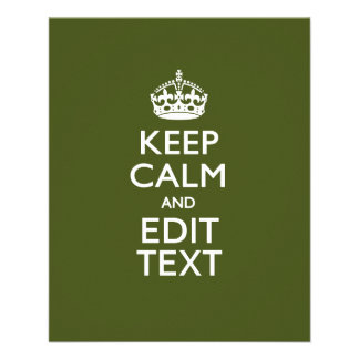 Your Text Keep Calm And on Olive Green Decor 11.5 Cm X 14 Cm Flyer