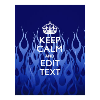 Your Text on Keep Calm on Blue Racing Flames 21.5 Cm X 28 Cm Flyer
