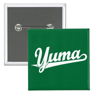Yuma script logo in white 15 cm square badge
