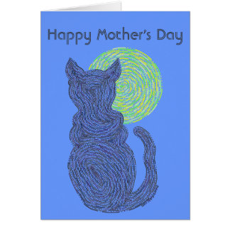Z Black Cat & Moon Happy Mothers Day Love The Cat Greeting Card