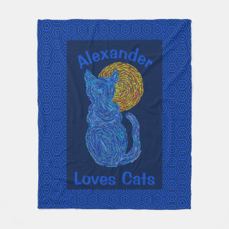 Z Blue Cat And The Moon Cat Lover Personalized Fleece Blanket