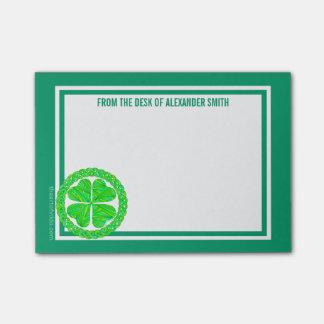 Z Lucky Celtic Shamrock 4 Leaf Clover Green Irish Post-it® Notes