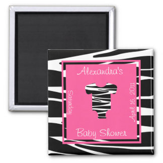 Zebra and Pink Clothes Baby Shower Favor Square Magnet
