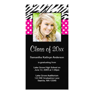 Zebra Pink Polka Dot Graduation Announcement Customized Photo Card