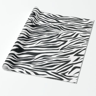 Zebra Print Stripes Black and White Animal Pattern Wrapping Paper