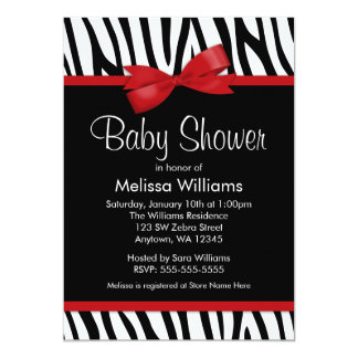 Zebra Red Printed Bow Baby Shower 13 Cm X 18 Cm Invitation Card
