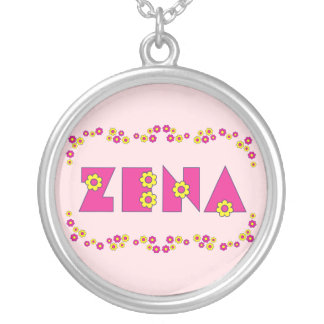 Zena in Flores Pink Round Pendant Necklace