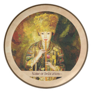 Zhangbo Hmong Culture Girl is Piping chinese lady Plates