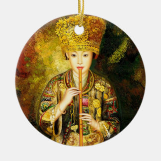 Zhangbo Hmong Culture Girl is Piping chinese lady Round Ceramic Decoration