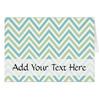 Zigzag Pattern, Chevron Pattern - Green Blue White Greeting Card