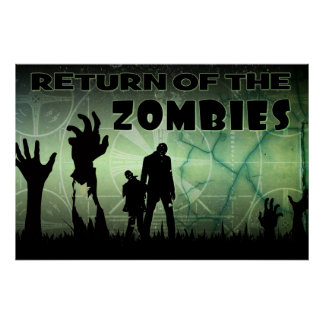 Zombie Apocalypse Distressed TV Warning  Poster