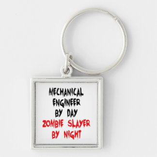 Zombie Slayer Mechanical Engineer Silver-Colored Square Key Ring